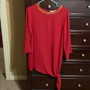 Pullover Dark Red Blouse. NWOT!